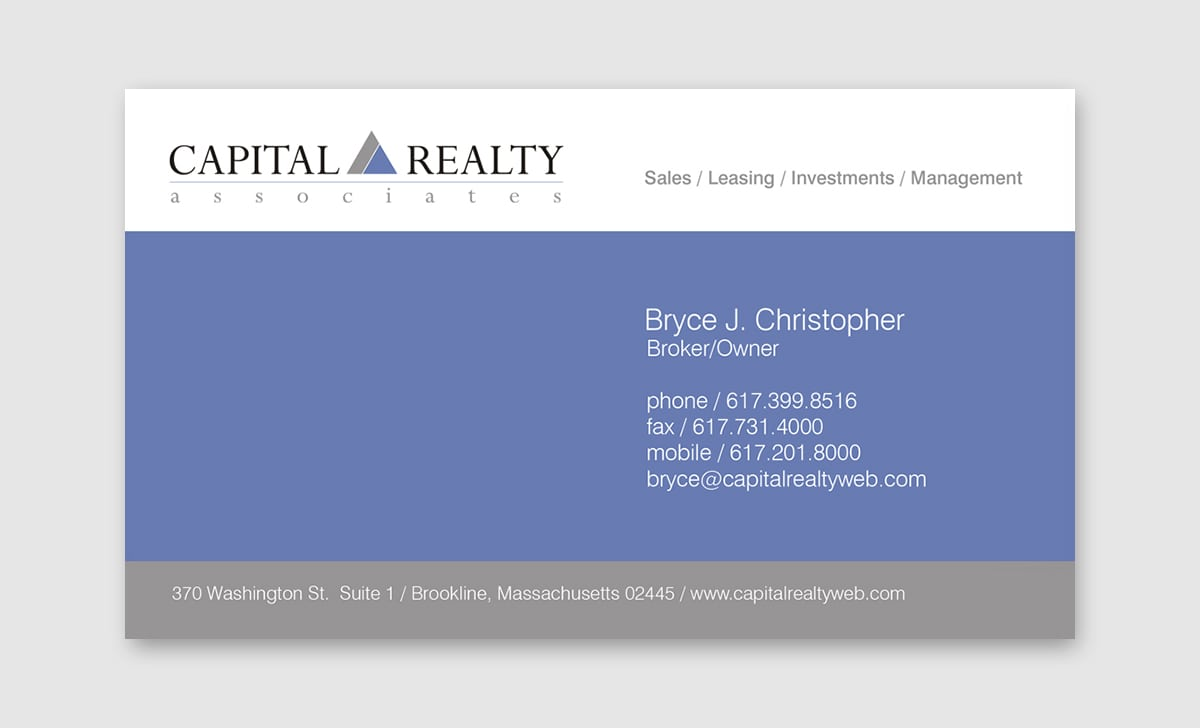Capital Realty Associates Business Card Back