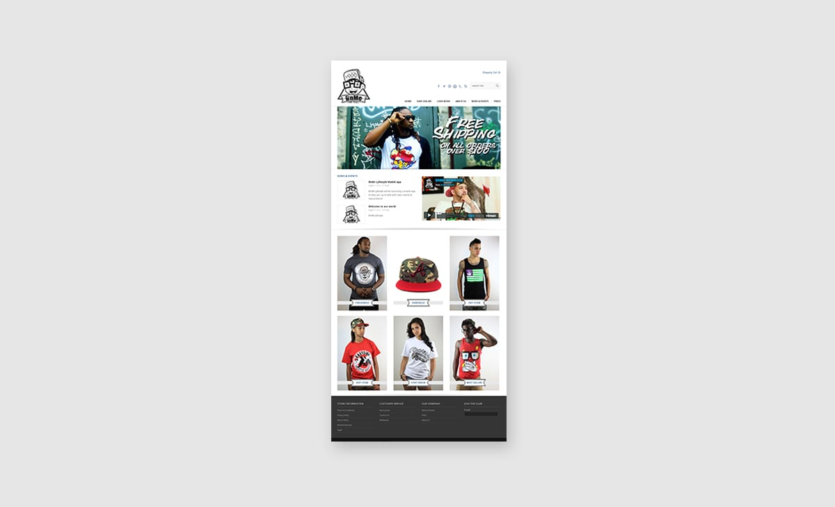 BnMe Clothing Web Site Homepage