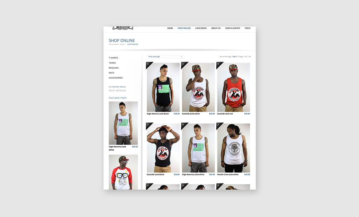 BnMe Clothing Web Site Store Page 1